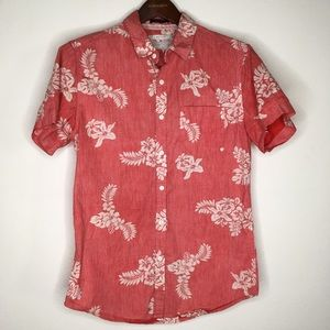Cactus Slim Fit Red Hawaiian SS Button Down S
